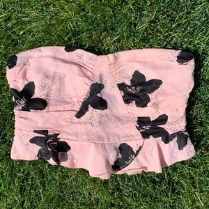 Free People Pink and Black Floral Ruffle Crop Top